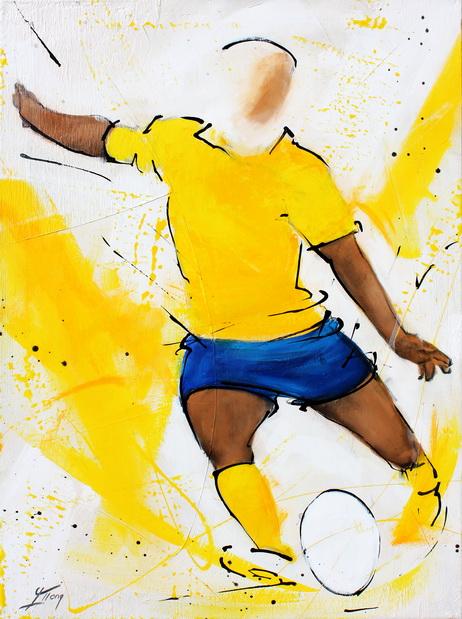 Art sport rugby : Peinture sur toile du buteur auvergnat de l'asm marquant 3 points aprés une pénalité réussie lors d'un match de rugby de TOP 14