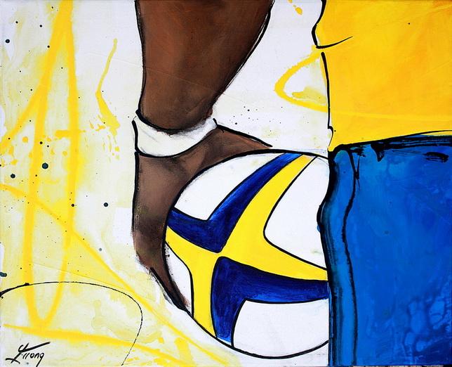 Art sport rugby : Peinture sur toile du talonneur auvergnat de rugby de l'ASM avant son lancer en touche
