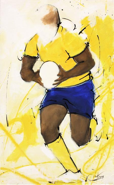 Art sport rugby : Peinture sur toile de la percée du centre auvergnat Wesley Fofana lors d'un match de rugby