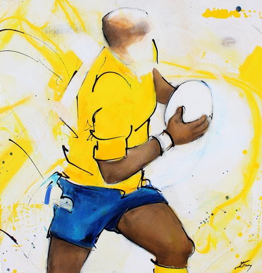 Art sport rugby : Peinture sur toile d'un troisième ligne de l'ASM chargeant avec le ballon