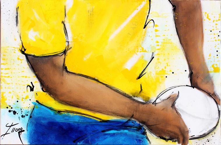 Art sport rugby : Peinture sur toile d'une passe et d'un ballon en gros plan lors d'un match de rugby