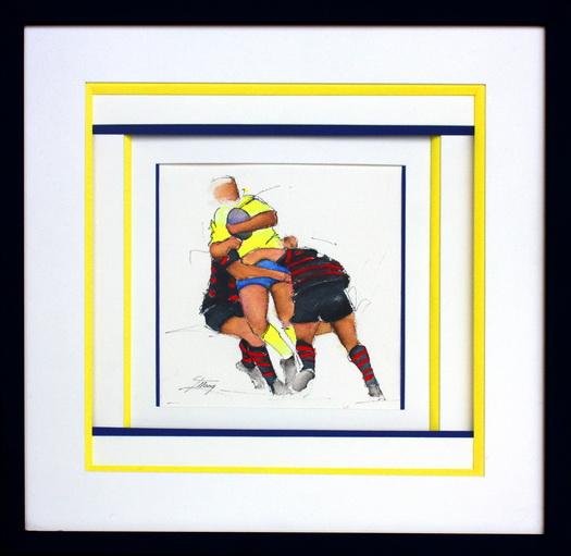 Art sport rugby : aquarelle encadré d'un match de rugby entre l'ASM et le stade toulousain