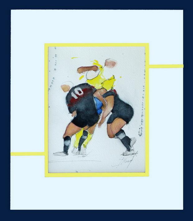 Art sport rugby : aquarelle d'un match de rugby entre l'ASM et le stade toulousain