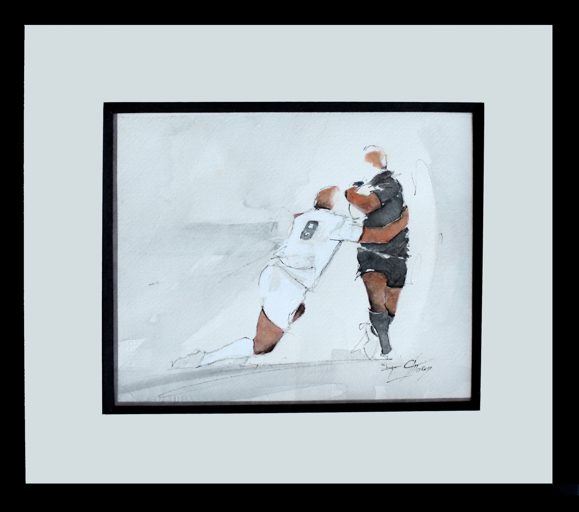 Art sport rugby : Aquarelle encadrée d'un match de rugby des All Blacks