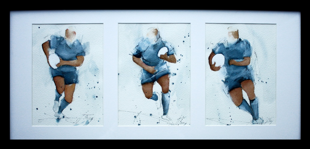 Art sport rugby : Tryptique Aquarelle encadrée de joueurs de rugby des All Blacks