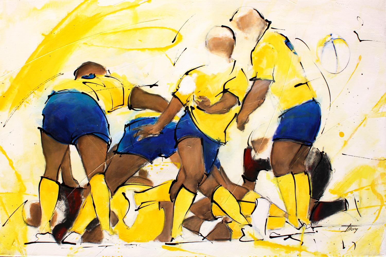 Art sport rugby : Peinture sur toile d'une sortie du ballon d'un ruck lors d'un match en l'ASM Clermont Auvergne et le Stade toulousain