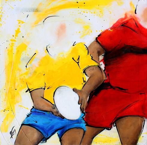 Art sport rugby : Peinture sur toile d'une passe avant contact lors d'un match de rugby