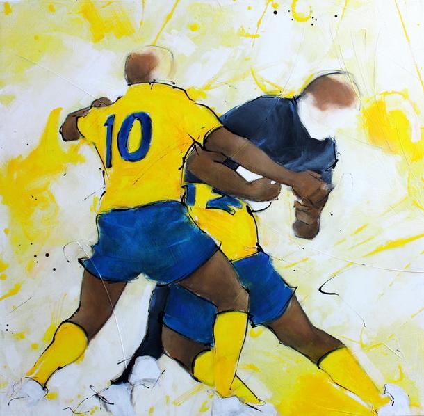 Art sport rugby : peinture sur toile de la solide défense de l'ASM face au MHR
