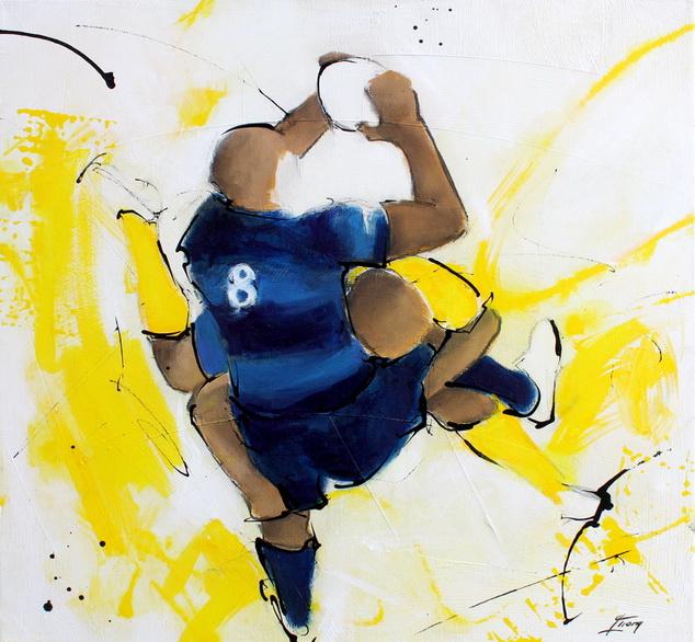 Art Sport Rugby : Peinture sur toile d'un match de rugby entre le MHR de Montpellier et l'ASM Clermont Auvergne à L'altrad stadium