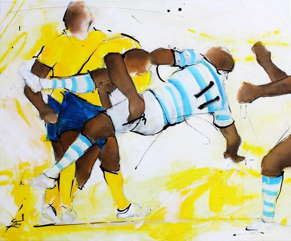 Art Sport Rugby : Peinture sur toile du superbe plaquage d'un jour de l'ASM Clermont Auvergne sur un joueur du racing lors d'un match de rugby au stade Michelin
