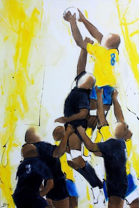 Art sport rugby : Peinture sur toile d'une touche lors d'un match de rugby