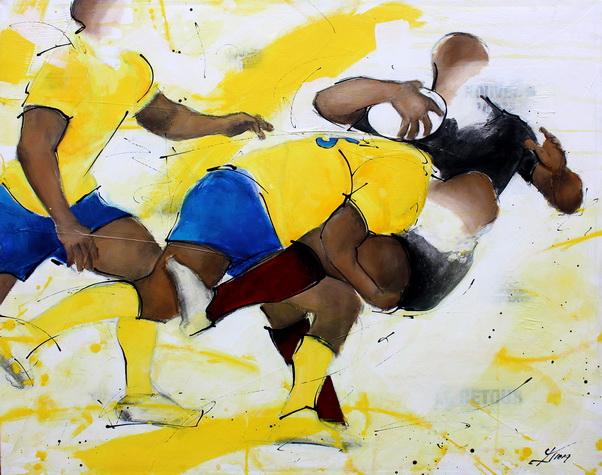 Art sport rugby : Peinture sur toile du plaquage offensif d'un rugbyman de l'ASM face au Stade Toulousain
