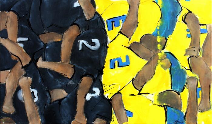 Art sport rugby : Peinture sur toile d'une mêlée lors d'un match de rugby à Amédée Domenech