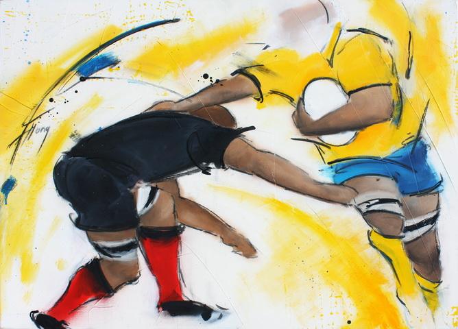 Art sport rugby : Peinture sur toile du raffut d'un rugbyman de l'ASM face à Toulouse