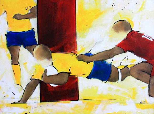 Art sport rugby : Peinture sur toile de l'essai marqué entre les poteaux par l'ASM