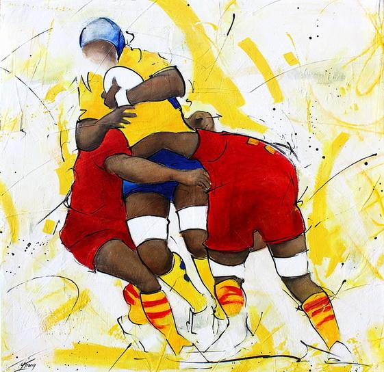 Art sport rugby : Peinture sur toile de la charge d'un troisième ligne lors de la finale de TOP 14 gagnée par l'ASM face à l'USAP le 28 mai 2010