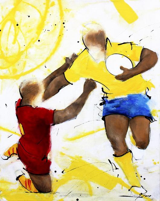 Art sport rugby : Peinture sur toile de la finale de TOP 14 USAP ASM gagnée par l'ASM le 28 mai 2010