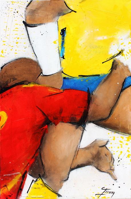 Art sport rugby : Peinture sur toile de la finale de TOP 14 gagnée par l'ASM face à l'USAP le 28 mai 2010