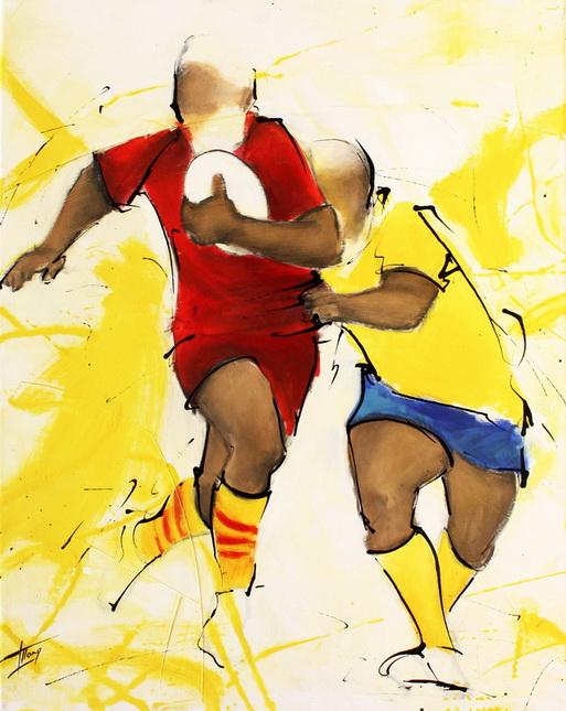 Art sport rugby : Peinture sur toile de la finale de TOP 14 gagnée parl'USAP face à l'ASM en 2009