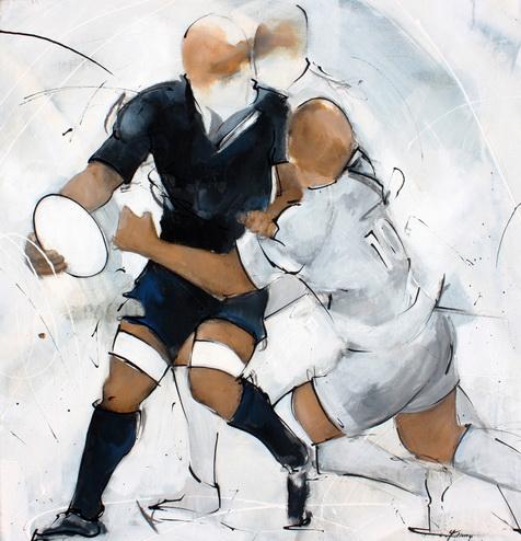 Art sport rugby : Peinture sur toile de la passe après contact du rugbyman All Blacks lors d'un match de rugby