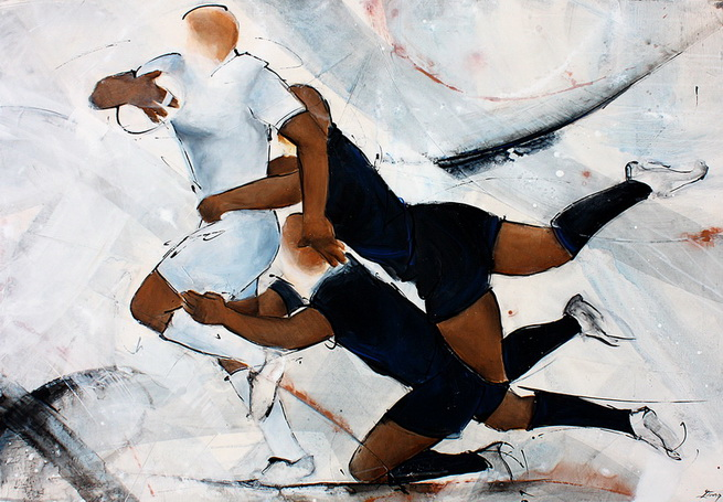 Art sport rugby : Peinture sur toile d'un match de rugby international des All Blacks