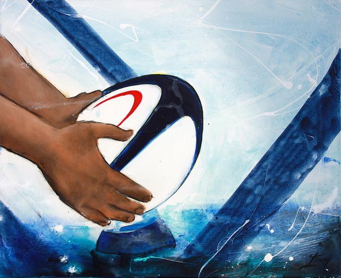 Art sport rugby : Peinture sur toile de la préparation du ballon par un rugbyman avant la tentative de transformation