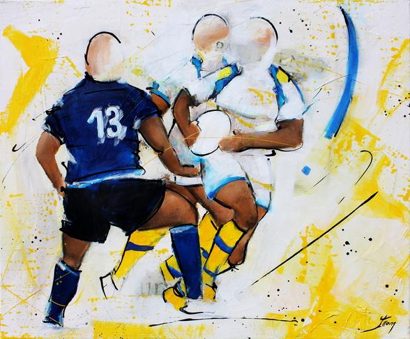 Art sport rugby : Peinture sur toile de la fixation parfaite du joueur de l'ASM face au Leinster lors d'un match de rugby de coupe d'europe