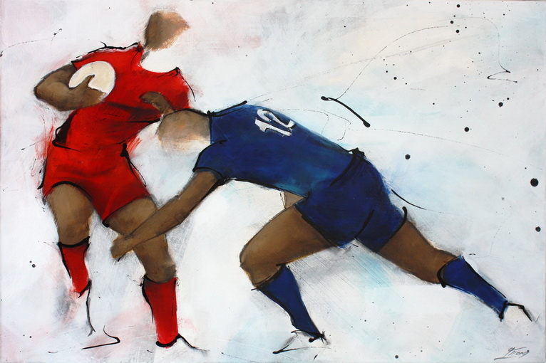 Art Sport Rugby : Peinture sur toile du crochet d'un joueur du RCT (Rugby Club Toulonnais) face au CO (Castres Olympique) lors d'un match de Rugby
