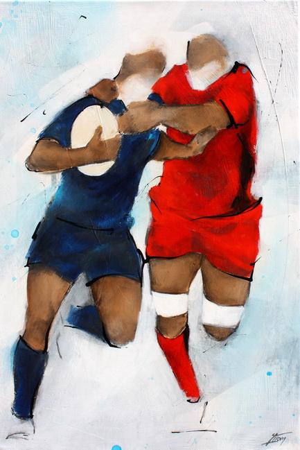Art Sport Rugby : Peinture sur toile du plaquage d'un joueur du RCT (Rugby Club Toulonnais) face au CO (Castres Olympique) lors d'un match de Rugby