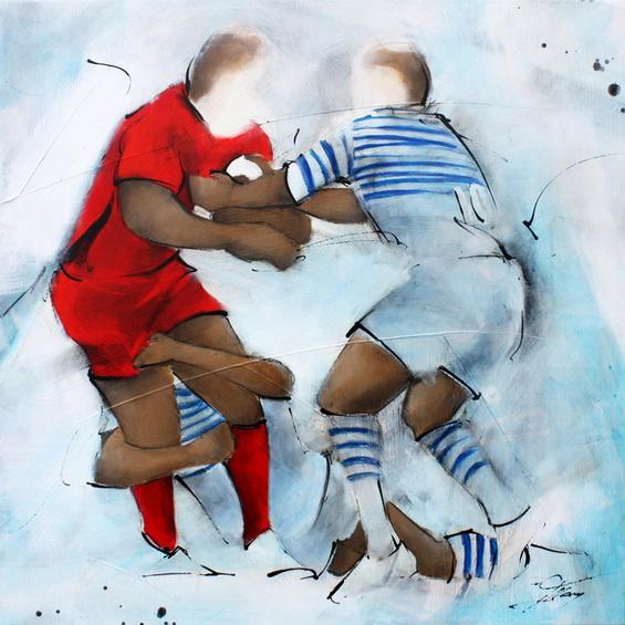 Art sport rugby : Peinture sur toile de la deuxième victoire consécutive du RCT en coupe d'Europe (Hcup) face aux Saracens