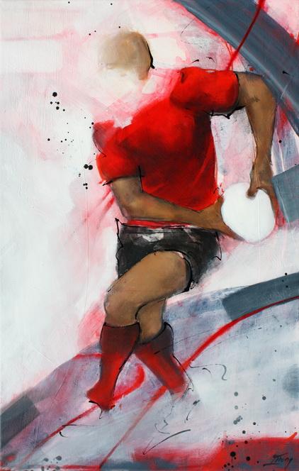 Art sport rugby : Peinture sur toile de la passe sur un pas d'un centre toulonnais lors d'un match de rugby