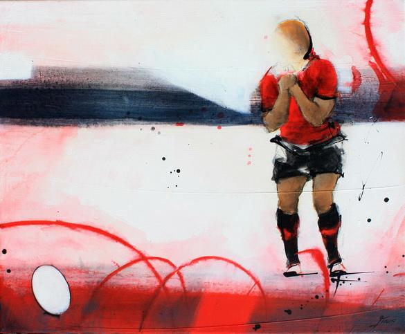 Art Sport Rugby : Peinture sur toile du joueur du RCT de légende Jonny Wilkinson lors d'une tentative de transformation au Stade Mayol