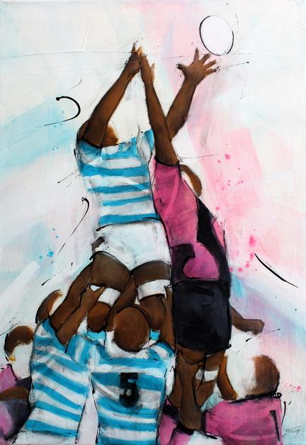 Art Sport Rugby : Peinture sur toile d'une touche à l'occasion du derby parisien opposant le racing 92 au stade francais à Jean Bouin lors d'un match de rugby