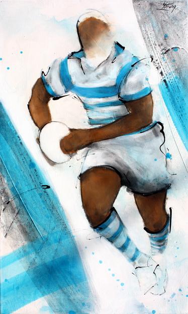 Art Sport Rugby : Peinture sur toile d'un joueur de rugby du Racing 92
