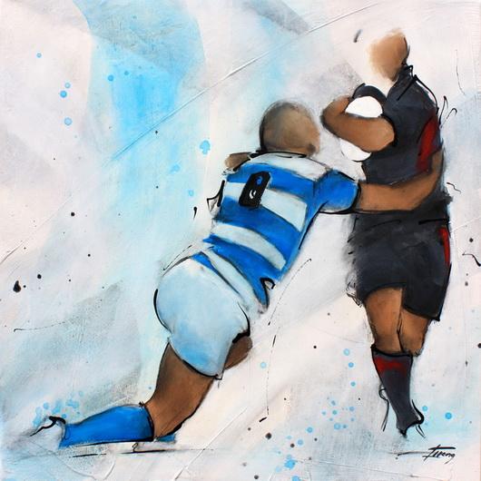 Art sport rugby : Peinture sur toile du troisième ligne centre du racing lors d'un match face au Stade Toulousain