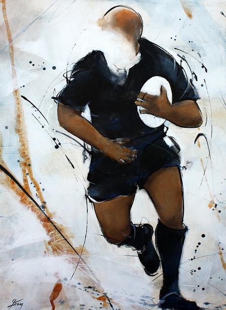 Art sport rugby : peinture sur toile de la légende All Blacks Richie Mc Caw lors d'un match de rugby