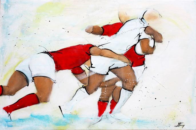 Art sport rugby : Peinture sur toile de la défense collective du Pays de Galles face aux anglais du XV de la rose