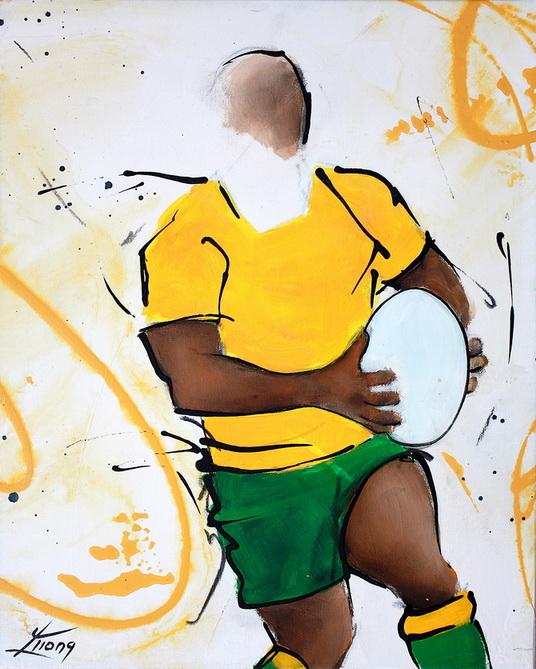 Art sport rugby : peinture sur toile d'un rugbyman australien des Wallabies