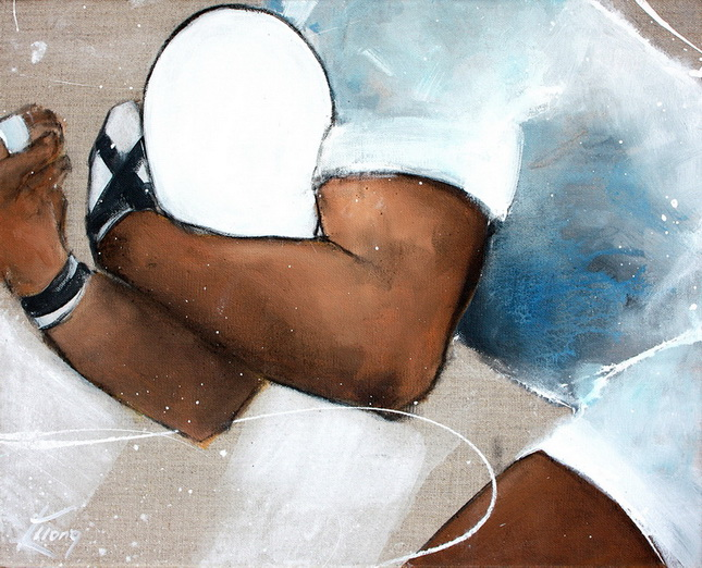 Art sport rugby : peinture sur toile d'un deuxième ligne avant la percussion lors d'un match de rugby