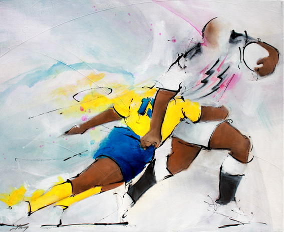Tableau art Sport Rugby : Peinture sur toile d'un match de rugby entre l'ASM et le Stade Français au Stade de France