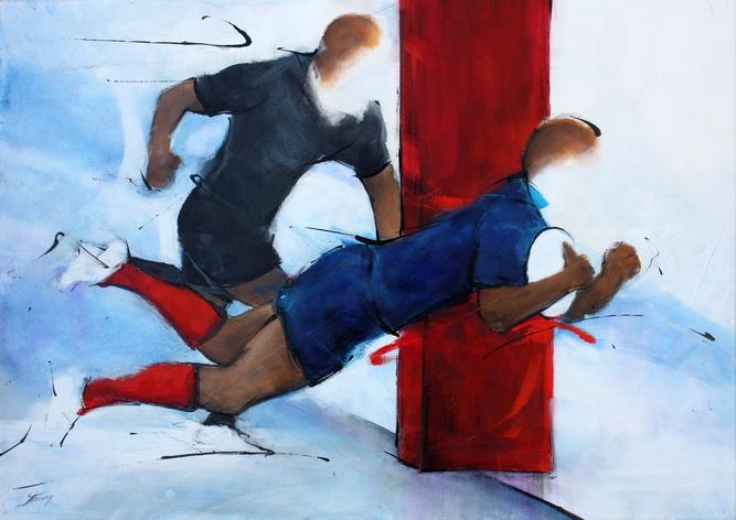 Art sport rugby : Peinture sur toile d'un match de rugby entre le XV de france et les all Blacks à l'Eden Park d'Auckland
