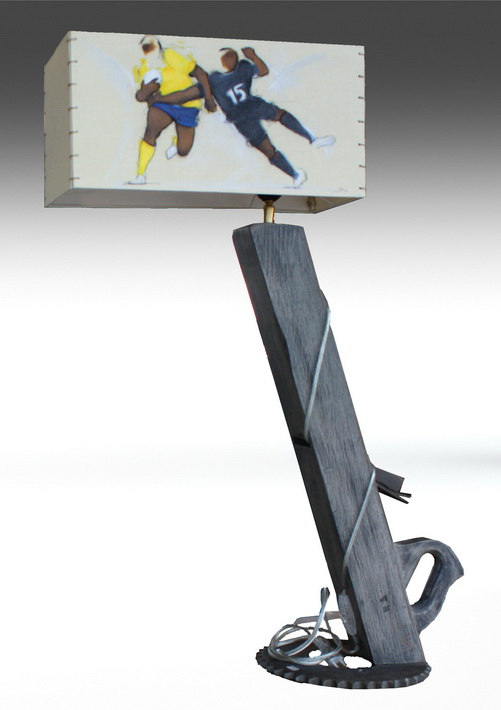 Artisanat art sport rugby : Lampe avec un abat jour sur le club de rugby de l'ASM