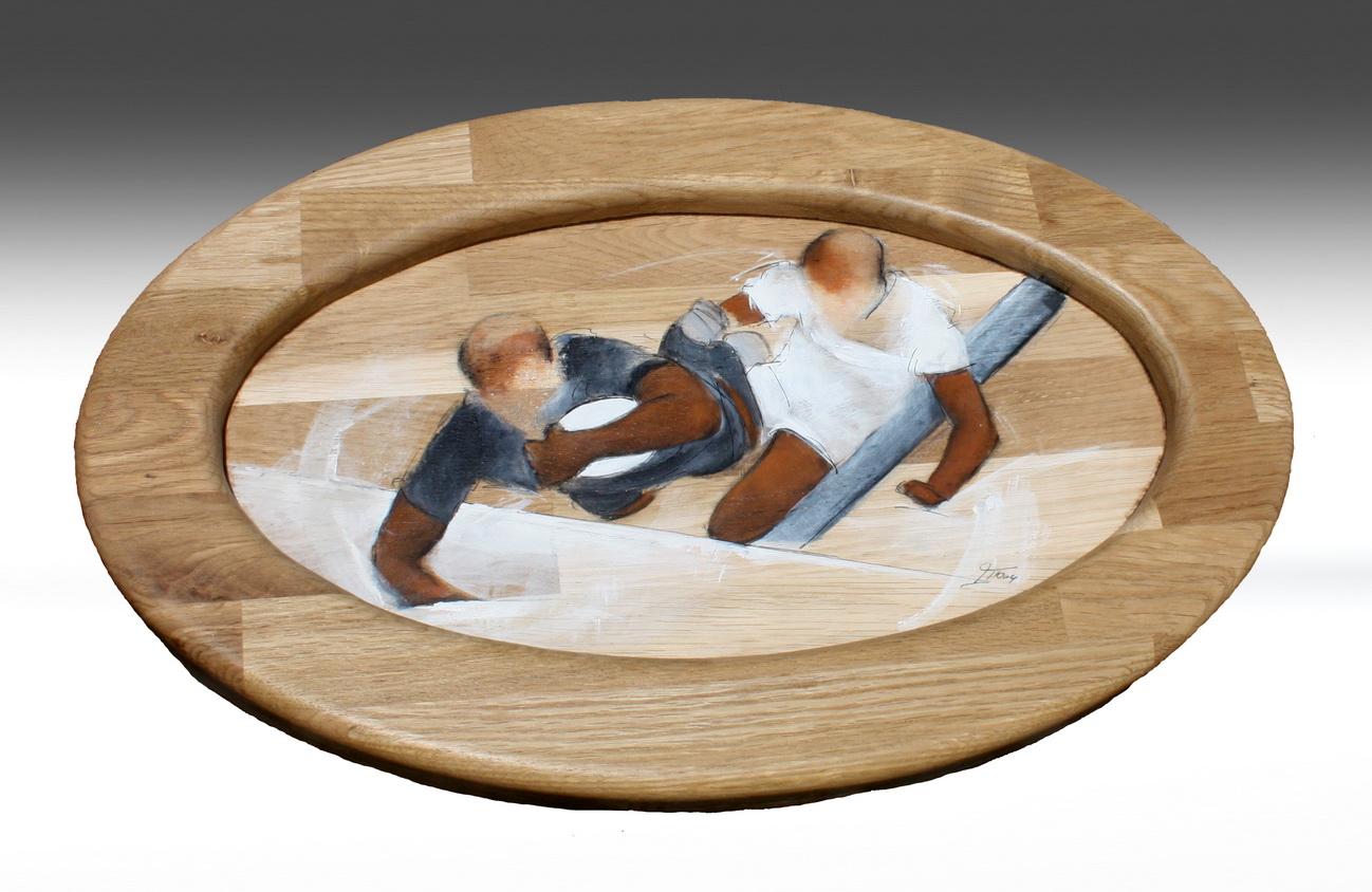 Artisanat art sport rugby : Cadre en bois sur le rugby