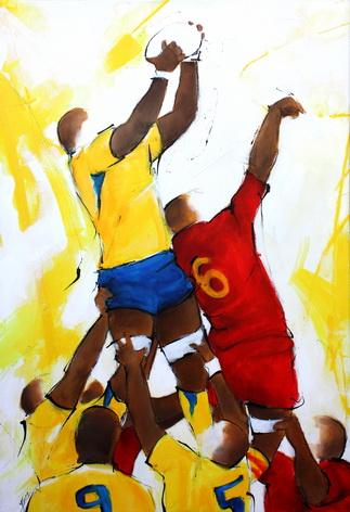 Art sport Rugby : Peinture sur toile d'un deuxième ligne saisissant le ballon en touche à l'occasion d'un match entre l'ASM et l'USAP
