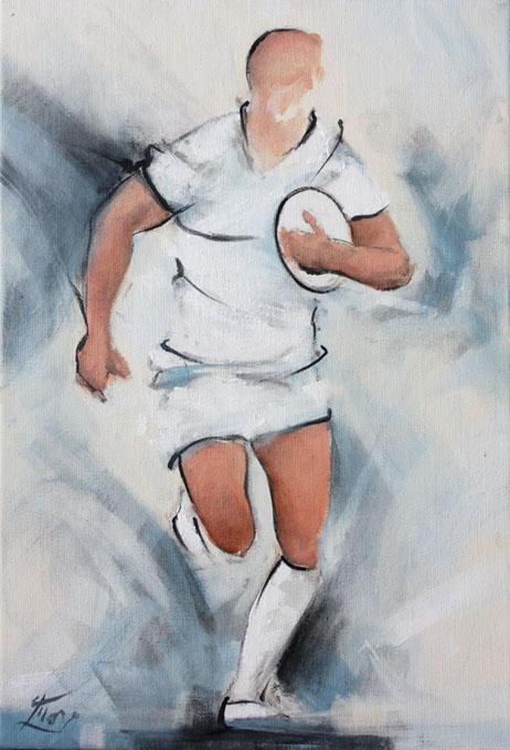 Art sport rugby : Peinture sur toile d'un joueur de rugby portant le ballon contre sa poitrine