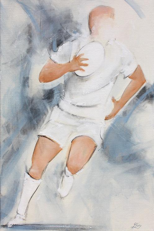 Art sport rugby : Peinture sur toile d'un joueur de rugby