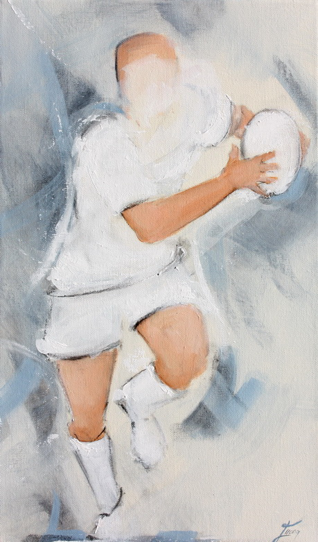 Art SPORT rugby : Peinture sur toile d'un joueur de rugby en maillot blanc
