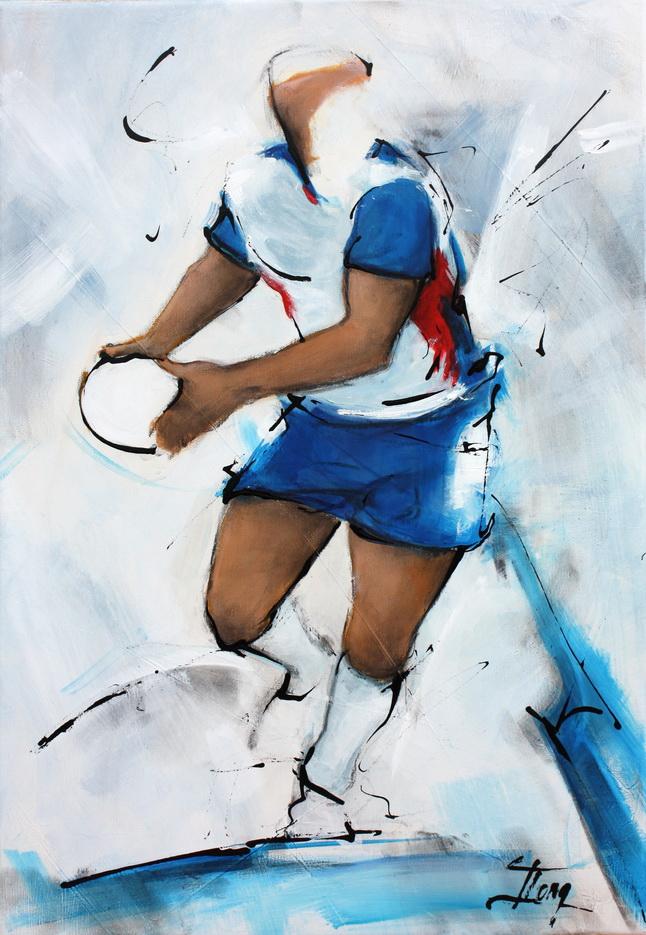 Art sport rugby : Peinture sur toile du R3CA ( Rugby Club Clermont Cournon d'auvergne) Fédérale 3