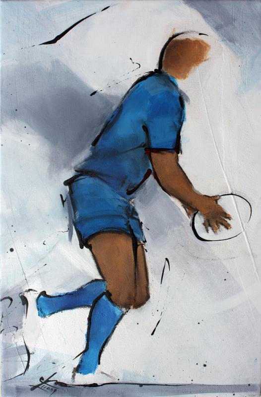 Art SPORT Rugby : Peinture sur toile d'un joueur de rugby du Castres olympique (CO)