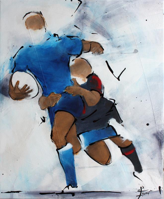 Art SPORT Rugby : Peinture sur toile d'un joueur de rugby du Castres olympique (CO) plaqué par un autre joueur du Stade Toulousain à Ernest Wallon
